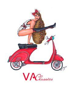 VA Classics Illustration/Ilustración nº3. Original Illustration by me; Aninka Miller #vespa #lambretta #piaggio #scooter #scooterist #vespino #vespista