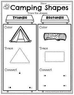 Trace & Draw Shapes. - Pre-k Camping Worksheets