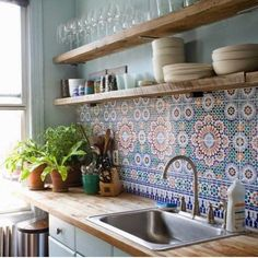 I like the idea of patterned tiles and plants