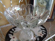 Vintage, Antique Pedestal Glass Compote, EAPG Clear Glass Comport by FairchildsInc on Etsy
