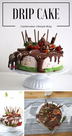 Zum Geburtstag meiner Kleinen habe ich diesen Drip Cake für Pferdefreunde gemacht. Er ist mit einer Erdbeer-Mascarpone-Creme gefüllt. Torte, GEburtstagstorte, Kinder, Pferde, Kinderschokolade, kuchen, Kindergeburtstag, pferdetorte, pferdekuchen, kuchen mit schleich pferden, kinderschokolade torte