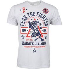 Fear the Fighter Karate Shirt,Grey,large