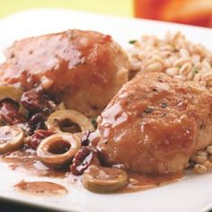 Chicken Thighs with Green Olive, Cherry & Port Sauce - EatingWell.com