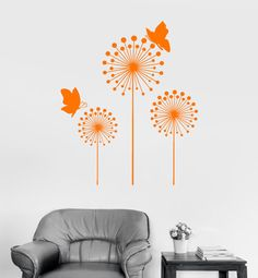 Wall Vinyl Decal Dandelion Flower Floral Butterfly by BoldArtsy
