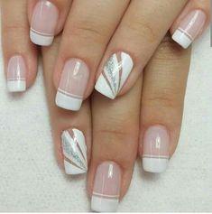 Blanco Elegant Nails, Stylish Nails, Square Nail Designs, Nail Art Designs, French Nails, Cute Nails, Pretty Nails, Gel Nagel Design, Gem Nails