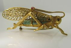 NEAT VINTAGE 18K YELLOW GOLD GRASSHOPPER PIN BROOCH TURQUOISE RUBY