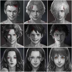 One Piece characters: Roronoa Zoro, Sabo, Sanji, Ace, Monkey D. Luffy,Trafalgar Law, Boa Hancock, Nico Robin, Nami