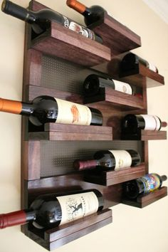 Stunning 9 Bottle Wine Rack with Decorative Mesh, Wine Shelf, You Choose The Stain and Mesh Colors