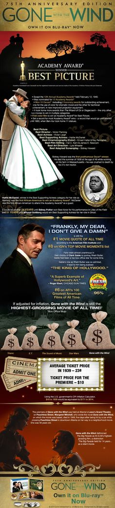 Gone With The Wind Awards & Accolades infographic. Go To Movies, Old Movies, Great Movies, Plane Movies, Scarlett O'hara, Vivien Leigh, Classic Hollywood, Old Hollywood, Movies Showing