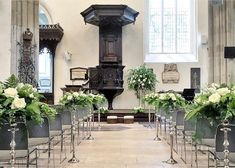 Aisle at St Helen's Bishopsgate Fern and roses - inspired by a Kiwi groom and English rose of a bride. Flowers by Eileen Ting Church Wedding Flowers, Bride Flowers, Flower Centerpieces, Centrepieces, Historical Architecture, London Wedding, English Roses, Here Comes The Bride, Beautiful Flowers