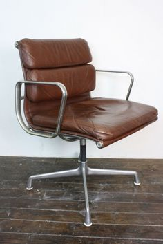 vintage eames herman miller brown leather soft pad group chair