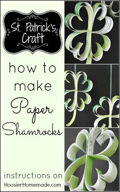 St. Patrick's Day Craft: How to make Paper Shamrocks : Instructions on HoosierHomemade.com St Patrick's Day Crafts, Holiday Crafts, March Crafts, Holiday Ideas, Erin Go Bragh, St Pats, Spring Crafts, Spring Projects, How To Make Paper