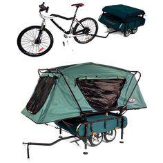 Available at Kamp-Rite, the Midget BUSHTREKKA is a lightweight bike trailer… Rando Velo, Bike Shelter, Zelt Camping, Materiel Camping, Mini Camper, Cargo Bike, Kayaks, Camping Survival, Camper Trailers