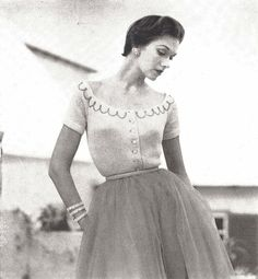 This vintage 1950s womans engagement sweater knitting pattern is from Vogue Knitting Spring/Summer 1954 magazine. ★ This pattern is designed for the following sizes: • bust 30 • bust 32 • bust 34 Gauge: 28 st = 4 in fingering weight (4 ply) yarn ★ This pattern is a digital download and is delivered to you immediately upon receipt of payment. ★ Sale! Two patterns for $7 with code: 2FOR7 Three patterns for $9 with code: 3FOR9 Five patterns for $13 with code: 5FOR13