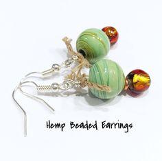 hemp earrings, hemp jewelry, beaded earrings, hippie earrings, drop earrings, crunchy mom gift, hemp accessories, festival jewelry by MissyRoseStudios on Etsy https://www.etsy.com/listing/469652485/hemp-earrings-hemp-jewelry-beaded