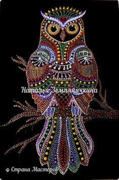 Картина панно рисунок Роспись Конкурсная работа-- Мудрая Сова  Стекло фото 1