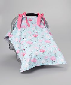 Look at this Caught Ya Lookin' Blue & Pink Flamingo Car Seat Cover on #zulily today!