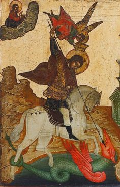 Detailed view: Saint George and the Dragon- exhibited at the Temple Gallery, specialists in Russian icons Jake And Dinos Chapman, Saint George And The Dragon, Saint Georges, Russian Icons, Jeff Koons, Religious Art, Contemporary Artists, Saints, Sf