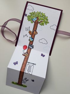 #scrapbooking #stampinup #woodland wonder Tri Fold Cards, Folded Cards, Baby Cards, Kids Cards, Stamping Up Cards, Butterfly Cards, Animal Cards, Tampons, Woodland