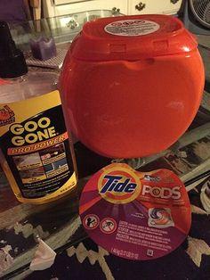 tide pod pumpkins, crafts, halloween decorations, Goo Gone label gone