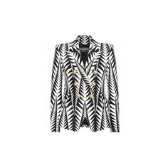 Balmain White/Black Arrow Woven Peaked Lapel Blazer ($1,500) ❤ liked on Polyvore featuring outerwear, jackets, blazers, double breasted blazer, black white jacket, cotton jacket, cotton blazer and cotton double breasted blazer