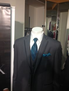 Tuxedos.  Tie is actually dark teal.  Looks darker in this picture.