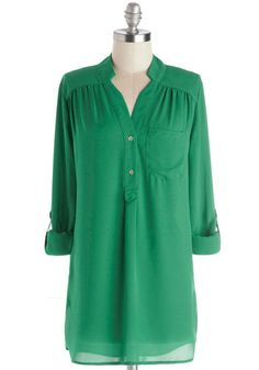 Pam Breeze-ly Tunic in Green - Green, Solid, Long Sleeve, Sheer, Best Seller, Button Down, V Neck, Casual, Variation, Basic, Woven, Chiffon,...