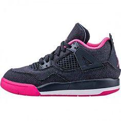 Nike Girls Jordan 4 Retro Ps Little Kids 487725-408 Denim Shoes Youth Size 13.5