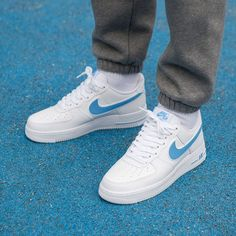 """Nike Air Force 1 """"White/University Blue"""" Available from our friends at Sneaker Outfits, Nike Outfits, Converse Sneaker, Puma Sneaker, Nike Air Force Ones, Nike Shoes Air Force, Sneakers Mode, Blue Sneakers, Zapatillas Nike Force"""