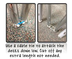 Now Why Didn't I Think of That?!?  Cable ties to keep desk together.