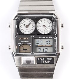 CITIZEN ANA-DIGI TEMP WATCH RARE 80's NEW JG2000-59F