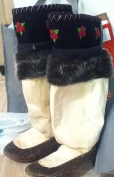 Inuit made sealskin kamiks by Sally Curley