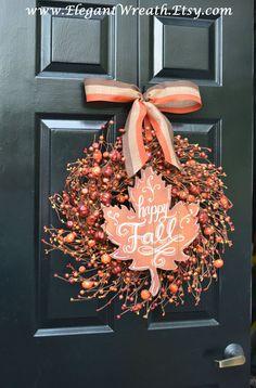 Fall Berry Wreaths  Monogram Fall Wreaths Orange by ElegantWreath