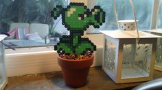 Plants vs Zombies Pea Shooter Potted Bead Sprite with Pixelated Dirt
