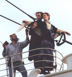 James Cameron with Leonardo DiCaprio and Kate Winslet - Titanic