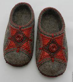 """Купить Тапки валяные """"Шерсть+кожа"""" - валяные тапочки, тапки, тапочки, тапочки валяные, валяная обувь"""