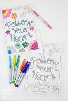 """Follow your heart colouring sheet. Fab free printable, part of our """"mummy and me"""" set adult and child colouring pages"""