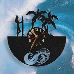 Reloj de Surfer Girl madera pared reloj surf cuadros de arte