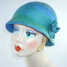 Felted Cloche Hat  Ocean Blue/Green merino fleece by SanityStash, $50.00