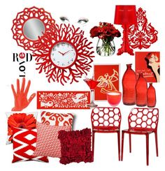 """""""RED✔"""" by dygboss ❤ liked on Polyvore featuring interior, interiors, interior design, home, home decor, interior decorating, LSA International, Universal Lighting and Decor, Pillow Decor and Canterbury Collections"""