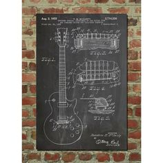 WANT THIS! This print depicts an original patent for a Gibson Les Paul as we know it today, with this version created in 1959 depicting every beautiful detail of a classic guitar. Printed on a matte cardstock paper, this large art piece will add an authentic historical edge to any interior in which it is displayed.
