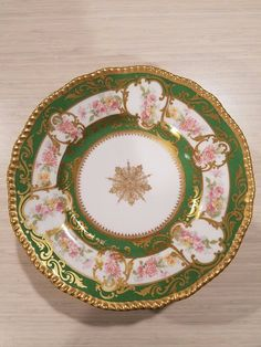 9 Green & Gold Limoges France Porcelain Plates by D&C R Delinieries Pink Floral #Limgoes