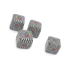 Polymer Clay colorful cube beads, unique set of rainbow flower,  cube beads with black and white stripes, Set of 4. $9.00, via Etsy.