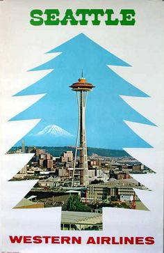 Seattle - Western Airlines Vintage Travel Poster  by Philip Williams Posters NYC
