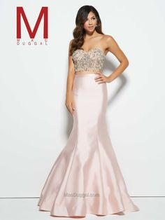 In a sensuous blush or aqua colour, this Mac Duggal Style makes a lovely two-piece prom dress. Designer Prom Dresses, Pink Prom Dresses, Prom Dresses Online, Dance Dresses, Homecoming Dresses, Strapless Dress Formal, Dress Prom, Wedding Dresses, Pure Couture