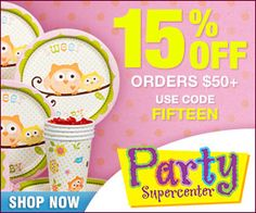 Party Supercenter Offers 15% Off Your Order of $50 or More!