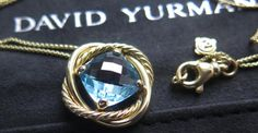 David Yurman Medum 18k Gold 5 ct Cushion Cut Blue Topaz Eternity Necklace NEW #DavidYurman #Pendant