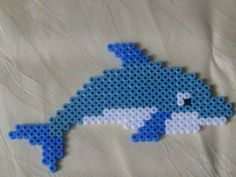 Hama Perlen Delfin Perler Bead Designs, Perler Bead Templates, Diy Perler Beads, Melty Bead Patterns, Pearler Bead Patterns, Perler Patterns, Beading Patterns, Pearl Beads Pattern, Peler Beads
