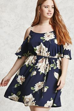 Forever 21+ - A satin mid-calf dress featuring an allover floral print, a scoop neck with a strapped V-back, adjustable cami straps, an open shoulder design, and an elasticized self-tie belted waist.