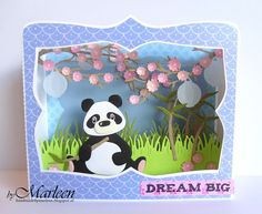 Make your own scenery cards with the Marianne Design Cutting Die of the Year - Box Card with trees, leaves, blossoms and more. Pop Up, Foam Crafts, Paper Crafts, Marianne Design Cards, Asian Cards, Interactive Cards, 3d Cards, Panda Bear, Design Crafts